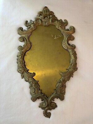 "Feb 203 Antique 23""  Ornate, Heavy Cast Brass Mirror/Picture Frame Beautiful"