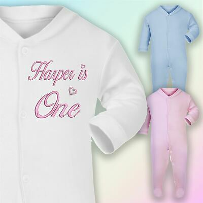 Personalised One 1st Birthday Embroidered Baby Sleepsuit Gift Girls Boys First