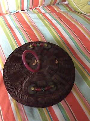 "Vintage Antique Chinese Sewing Basket 9""- with Beads & Coins"