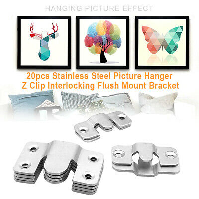Flush Mount Heavy Duty Slide Bracket Picture Frame Mirror Photo Canvas Plat