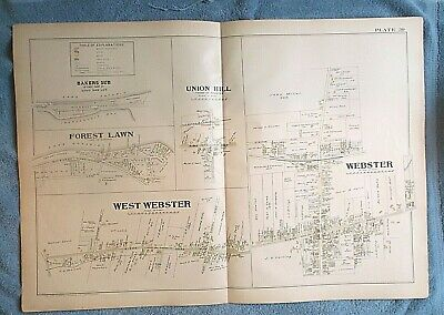 1902 map PLAT WEBSTER  FOREST LAWN UNION HILL etc New York  hand color large