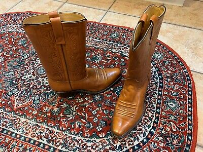 Acme Saddle Brown Tooled Leather Western Cowboy Boots Mens 7.5 M  Euc Usa