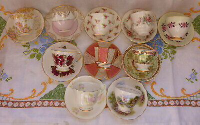 Vintage China Tea Cups/Saucers, Mis~Matched Set Of 10,  Pink, Green & Pretty