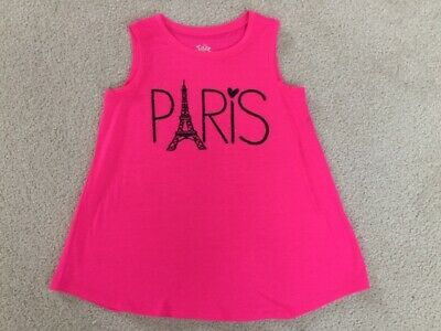 Justice Top Swingy Tank Neon Pink Eiffel Paris