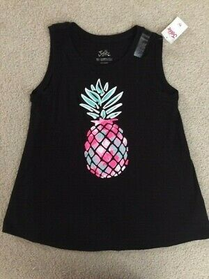 Girls Justice Black Pineapple Tank Top Shirt Size 10 NWT