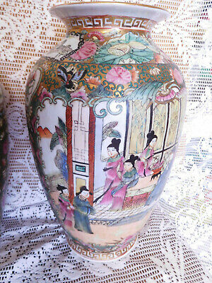 Vtg. Large CHINESE Porcelain Famille ROSE  VASE ~ w/ Figures , Birds & Flowers