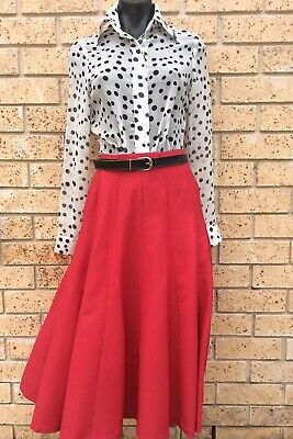 Vintage 70s Red Skirt Full Flared Sz 8 Tailormade with Vintage 90s Blouse 8 NWOT