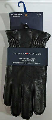 NEW Men's Tommy Hilfiger Black Leather Touchscreen Fleece Lined Gloves SZ Medium