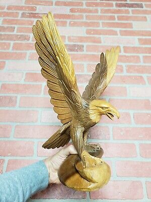VTG Big 15 inches Eagle Hand Carved Wood Sculpture Folk Art Detailed Cabin Decor