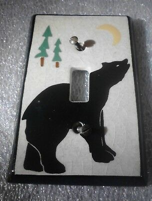 Bear Light Switch Cover Plate & Screws   Cabin Rustic Brown Home Decor