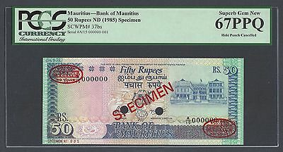 Mauritius 50 Rupees ND(1985) P37bs Specimen TDLR N001 Uncirculated