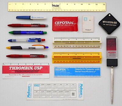 Vintage Pharmaceutical Drug Co. Advertising Collection Pens Rulers Magnifier