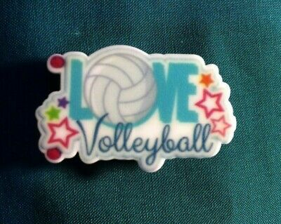 LOVE Volleyball LOGO Women Sports Button Croc Hole Accessories Clog Shoe Charms