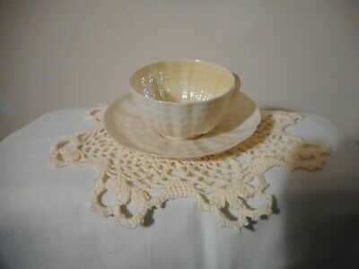 Vintage Belleek Tridacna Shell Pattern Tea Cup & Saucer, First Green Mark, Mint
