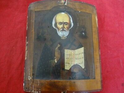 Very Fine Antique 19th Century St. Nicholas St. Nicolas Russian Wood Icon
