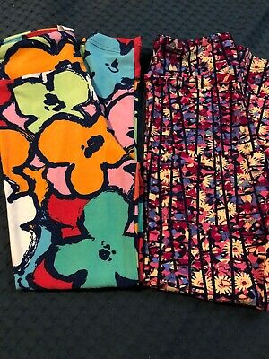 Lularoe Kids S/M Leggings Lot Sizes 2-6 Big Floral Daisy Geometric Two Pairs NWT