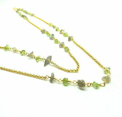Rosary Chain Necklace Natural Gemstones Nuggets Chips 22K Gold Chain 5 Feet Long