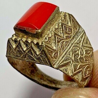 LATE MEDIEVAL SILVER RING - rare red STONE INTAGLIO 7.9gr 29mm (INNER 20.4mm)