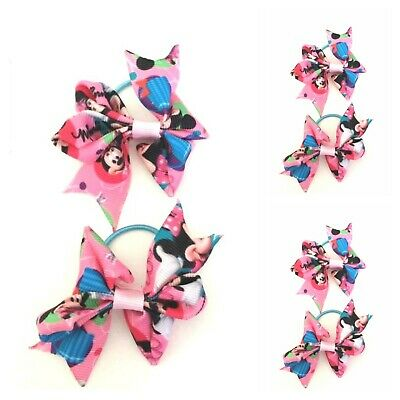 Handmade Girls Tiny Baby Hair Bow Bobbles  in Minnie Ribbon Sold In Pairs