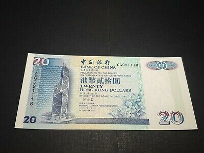 Hong Kong. 20 Dollars. 2000. P329f. UNC. Bank of China. See photos.*51