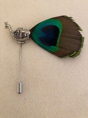 Hat Pin - Silver peacock with green/brown real feather -Brand New