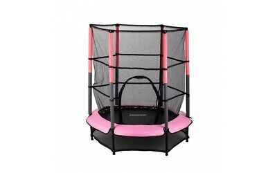 NEW Kids Childrens Pink And Black 4.5FT Trampoline Set With Safety Net Enclosure