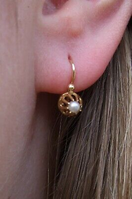 Antique French Victorian 18ct Yellow Gold Coronet Pearl Dormeuse Earrings