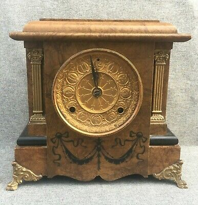 Big antique Seth Thomas american clock 19th century 1880 wood brass with key