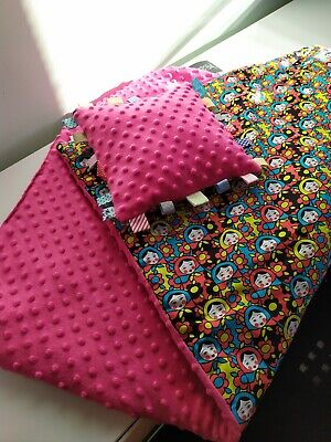 New BABY GIRL MINKY AND COTTON BLANKET & PILLOW SET 95*68 cm