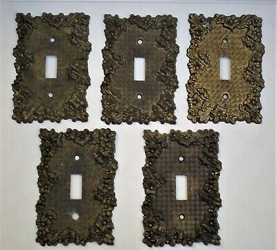 Lot of 5 Decorative Metal Floral Light Switch Plate Covers - EDMAR/American Tack