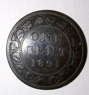 Canada 1891 Large One Cent Coin - Large Date, Large Leaves Variety VF+ Penny
