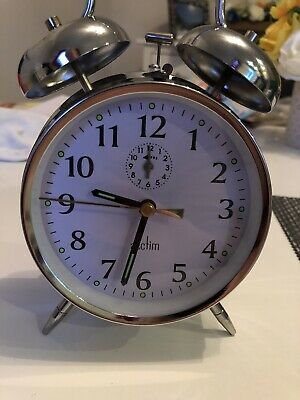 Acctim Saxon Retro Loud Double Bell Mechanical Silver Traditional Alarm Clock
