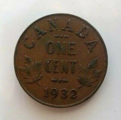 Canada 1932 One Cent Coin George V Canadian Penny Copper