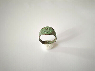 Ancient Roman Bronze Engraved Ring 2-3 Ad