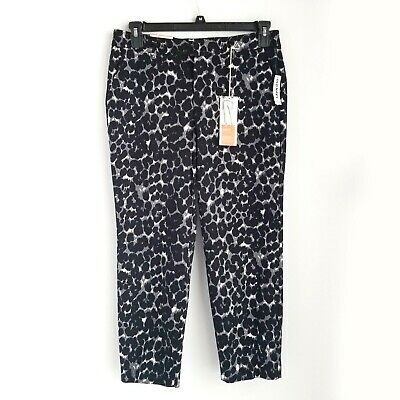 Old Navy Harper Mid Rise Ankle Pants Womens 6 Cropped Black Leopard Print NEW
