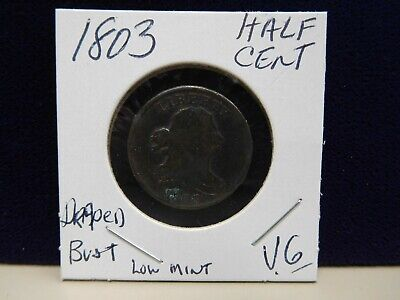 """1803 Draped Bust Half Cent """"Low Mint"""" 92,000 Scarce Coin Very Good (20910-Cent-Y"""