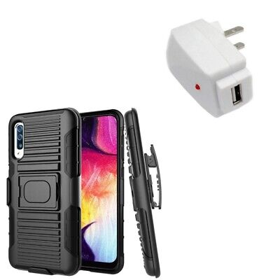 Samsung Galaxy A50 Rugged Holster Case Belt Clip, USB Home Charger