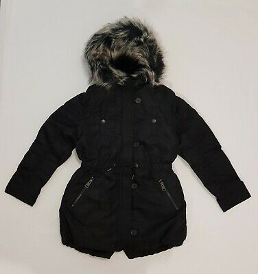 NEXT Girls Parka Coat Jacket Black With Faux Fur Trim Hood BNWT 9-10 Years