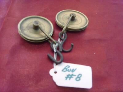 pulleys bou #8 Pair of early 8 day  long case clock weight pulleys