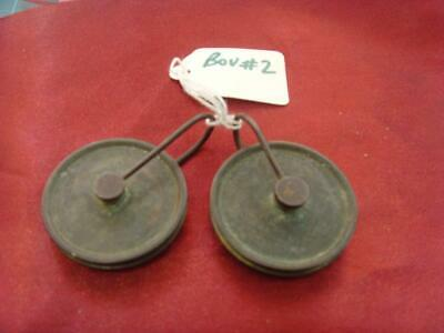 pulleys bou #2 Pair of early 8 day  long case clock weight pulleys