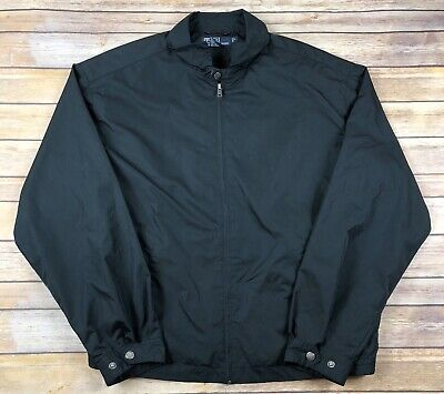 VTG Polo Ralph Lauren Black Full Zip Lightweight Windbreaker Jacket Mens Large