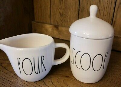 Rae Dunn POUR Creamer & Scoop sugar Canister. Brand new Set!