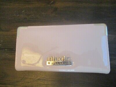Nicole Miller Patent Leather Zip Wallet - Pale Pink w/Gold Accents