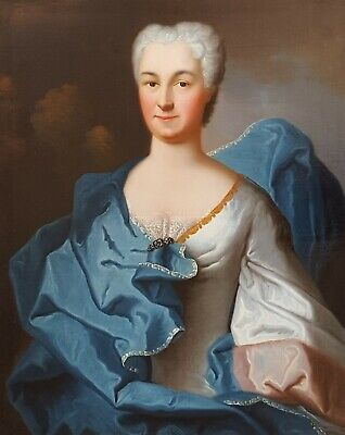 Oil on Canvas Portrait of a Lady, 18th Century French Painting, Charles Baziray