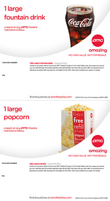 4x AMC Large Popcorn & Large Fountain Drink exp 12/20 Instant Delivery Email
