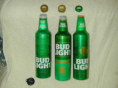 "3 Bud Light St. Patrick's Day 2017 2018  2019  16Oz   W/Caps Sold ""As Is"" Empty"
