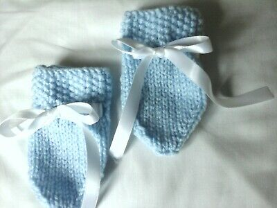 New Hand Knitted blue Baby Mittens, 0-3 Months