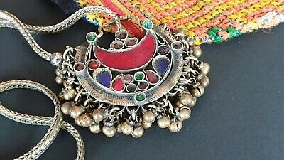 Old Afghanistan Pendant on Chain with Local Stones and Silver …beautiful collect