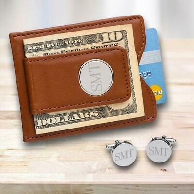 Personalized Brown Leather Money Clip/Wallet allet & Pin Stripe Cuff Links Gift