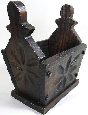 Vtg Solid Wood Box Black Forest Medieval Carved Flowers Planter Remote Storage